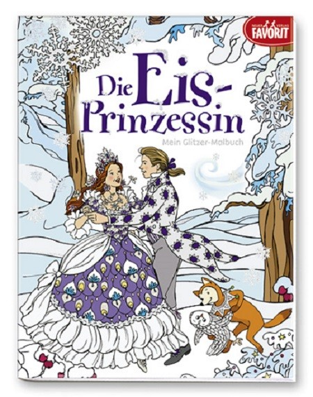 Die Eis-Prinzessin Malbuch mit Glitzerlack auf dem Cover und den Malvorlagen (ab 3 Jahre)
