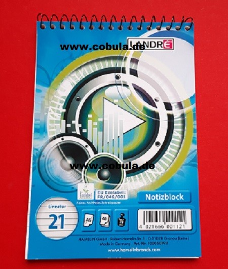 Spiralnotizblock A6 Lineatur 21