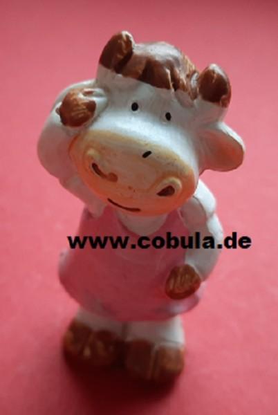 Osterfigur Keramik Hase, Kuh mit grünem Tuch und Kuh mit rosa Kleid