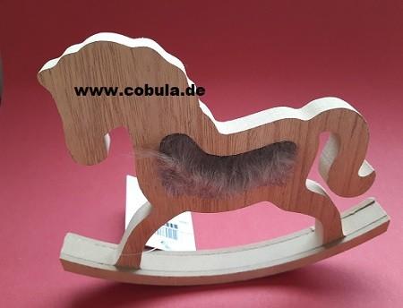 Holz Pferd mit Webpelz 20cm