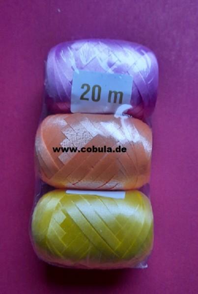 3er Geschenkband gelb orange lila