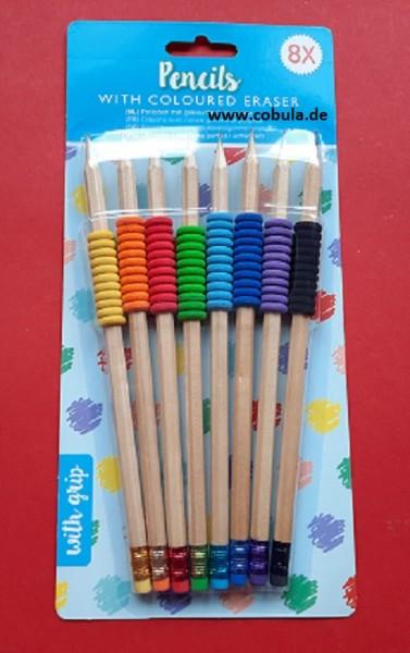 Bleistifte mit Gummi-Grip 8 Stück