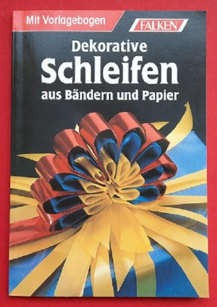 Dekorative Schleifen aus Bändern und Papier. Mit Vorlagebogen