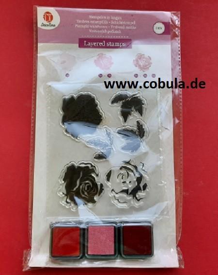 Layered stamps Schichtstempel mit 3 Stempelkissen