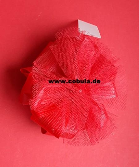 Tüllrosette groß ca. 14cm Farbe rot