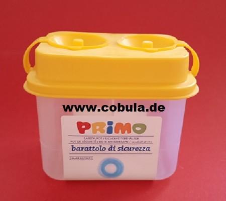 Pinselbecher Doppelkammer gelb