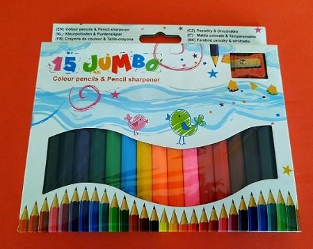 15 Jumbo Buntstifte mit Spitzer